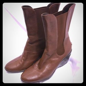 Cole Haan Nike Air Sole Brown Leather Heel Boot